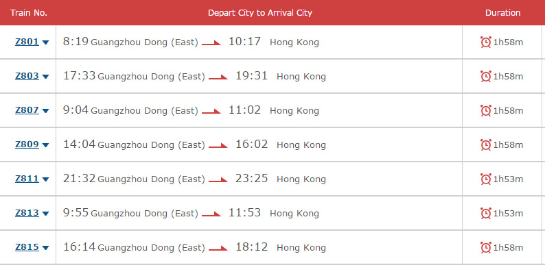 guangzhou east to hung hom Hong Kong
