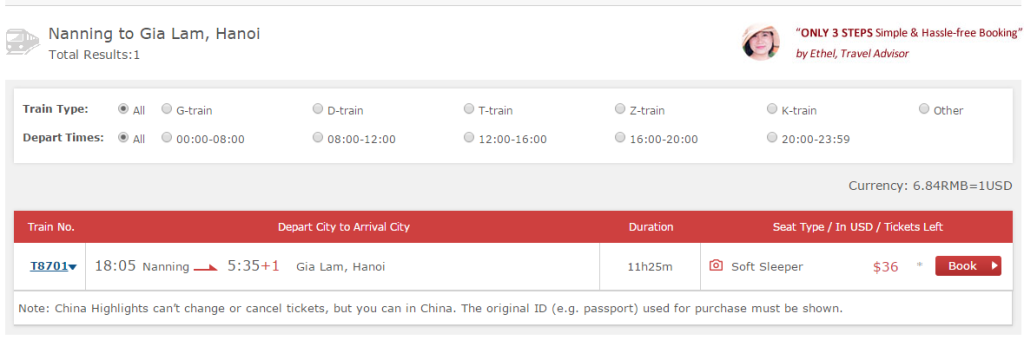 Buy Nanning to Hanoi train ticket