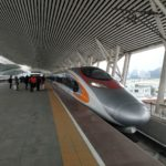 The HK high speed train Vibrant Express running to Guangzhou South via Humen Railway Station in Dongguan